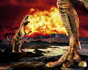 Fireball Framed Prints - Dinosaur Extinction Framed Print by Victor Habbick Visions