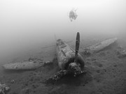 New Britain Prints - Diver Explores The Wreck Print by Steve Jones