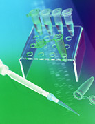 Pipette Posters - Dna Research Poster by Tek Image