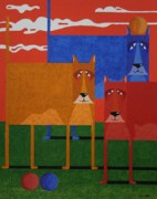 Contemporary Animal  Acrylic Paintings - 3 Dogs and 3 Balls by Stephen Diggin