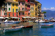 Portofino Italy Boats Framed Prints - 3 Dories Framed Print by John Galbo