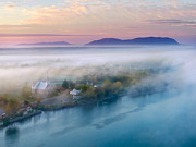 Birds Eye View Framed Prints - Early Autumn Morning Fog on The Richelieu River Valley Quebec Ca Framed Print by Laurent Lucuix