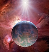 Earthlike Framed Prints - Earthlike Planet In Orion Nebula, Artwork Framed Print by Detlev Van Ravenswaay