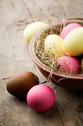 Painted Wood Prints - Easter eggs Print by Kati Molin