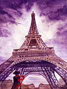 Watercolor By Irina Posters - Eiffel Tower Paris Poster by Irina Sztukowski