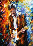 English Framed Prints - Eric Clapton Framed Print by Leonid Afremov