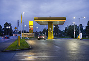 Fueling Posters - Estonian Gas Station at Night Poster by Jaak Nilson