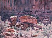 Rock Formation Paintings - Fallen Rock by Donald Maier