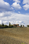 Tuscan Hills Framed Prints - Farmhouse and Field Framed Print by Jeremy Woodhouse