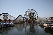 California Adventure Park Framed Prints - Ferris Wheel and Roller Coaster - Paradise Pier - Disney California Adventure - Anaheim California - Framed Print by Wingsdomain Art and Photography