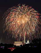 4th July Framed Prints - Fireworks over Washington DC on July 4th Framed Print by Steve Heap