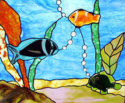 Fused Glass Art Framed Prints - 3 Fishes in the Sea Framed Print by Jane Croteau