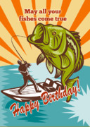 Retro Style Prints - Fly Fisherman on boat catching largemouth bass Print by Aloysius Patrimonio