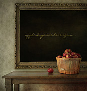 Vegetarian Posters - Fresh apples on wooden table Poster by Sandra Cunningham