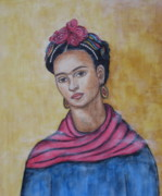Rivera Framed Prints - Frieda Kahlo Framed Print by Rain Ririn