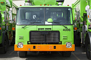 Blue Collar Framed Prints - Garbage Truck Fleet Framed Print by Don Mason