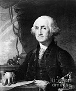 Colonial Man Framed Prints - George Washington, 1st American Framed Print by Photo Researchers