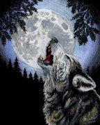 Ghost Pastels Framed Prints - Ghost Wolf Framed Print by Robert M Walker