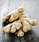 Roots Photo Posters - Ginger root Poster by Elena Elisseeva
