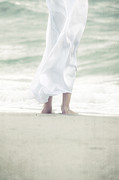 Footprints Photo Prints - Girl At The Sea Print by Joana Kruse