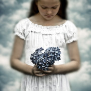 Picking Framed Prints - Girl With Hydrangea Framed Print by Joana Kruse
