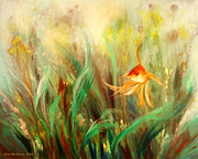 Fish Underwater Paintings - Gold Fish by Gina De Gorna