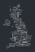 Typography Map Digital Art Metal Prints - Great Britain UK City Text Map Metal Print by Michael Tompsett