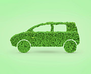 Electric Car Framed Prints - Green Car Framed Print by Oleksiy Maksymenko