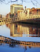 Reflections In River Framed Prints - Hapenny Bridge, River Liffey, Dublin Framed Print by The Irish Image Collection