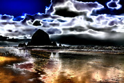 Shorelines Digital Art Posters - Haystack Rock on Cannon Beach Poster by David Patterson