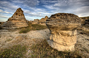 Park Scene Digital Art Prints - Hoodoo Badlands Alberta Canada Print by Mark Duffy