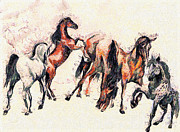 Fast Paintings - Horses by Odon Czintos