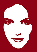Stencil Portrait Posters - Illustration of a woman in fashion Poster by Frank Tschakert