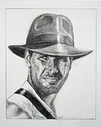 Indiana Drawings Metal Prints - Indiana Jones Metal Print by George Ameal Wilson