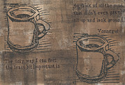 Linoleum Drawings - Java by William Cauthern