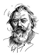 19th Drawings Posters - Johannes Brahms 1833-1897 Poster by Granger