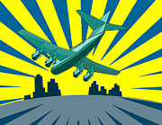 Graphics Digital Art Posters - Jumbo Jet Plane Retro Poster by Aloysius Patrimonio