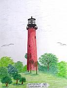 Pencil Drawings By Frederic Kohli - Jupiter Inlet Lighthouse  by Frederic Kohli