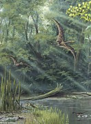 Pterodactyls Prints - Jurassic Life, Artwork Print by Richard Bizley
