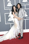 Katy Perry Framed Prints - Katy Perry, Russell Brand At Arrivals Framed Print by Everett