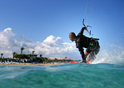 Green Bay Framed Prints - Kitesurfing Framed Print by Stylianos Kleanthous