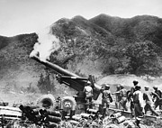 U.s Army Framed Prints - Korean War: Artillery Framed Print by Granger