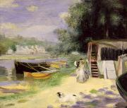 Banks Framed Prints - La Grenouillere Framed Print by Pierre Auguste Renoir