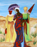 African-american Mixed Media Framed Prints - 3 Ladies Framed Print by Diane Britton Dunham