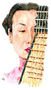 Chinese Musician Posters - Lady Of The Pipa Poster by Karen Clark