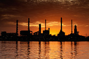 Production Photo Originals - Landscape of river and oil refinery factory by Anek Suwannaphoom