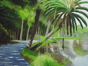 Scenic Drive Painting Framed Prints - Leaning Palm Two Framed Print by Robert Rohrich