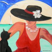 Lady In Red Painting Framed Prints - Living the Dream Framed Print by Gina De Gorna