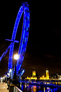 London Eye Prints - London Eye Night View Print by David Pyatt