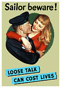 Navy Mixed Media Posters - Loose Talk Can Cost Lives Poster by War Is Hell Store